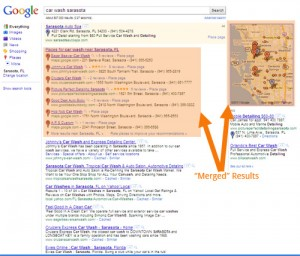Local Search with Merged Results