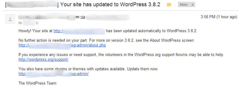 WordPress Automatic Upgrade Notification Email